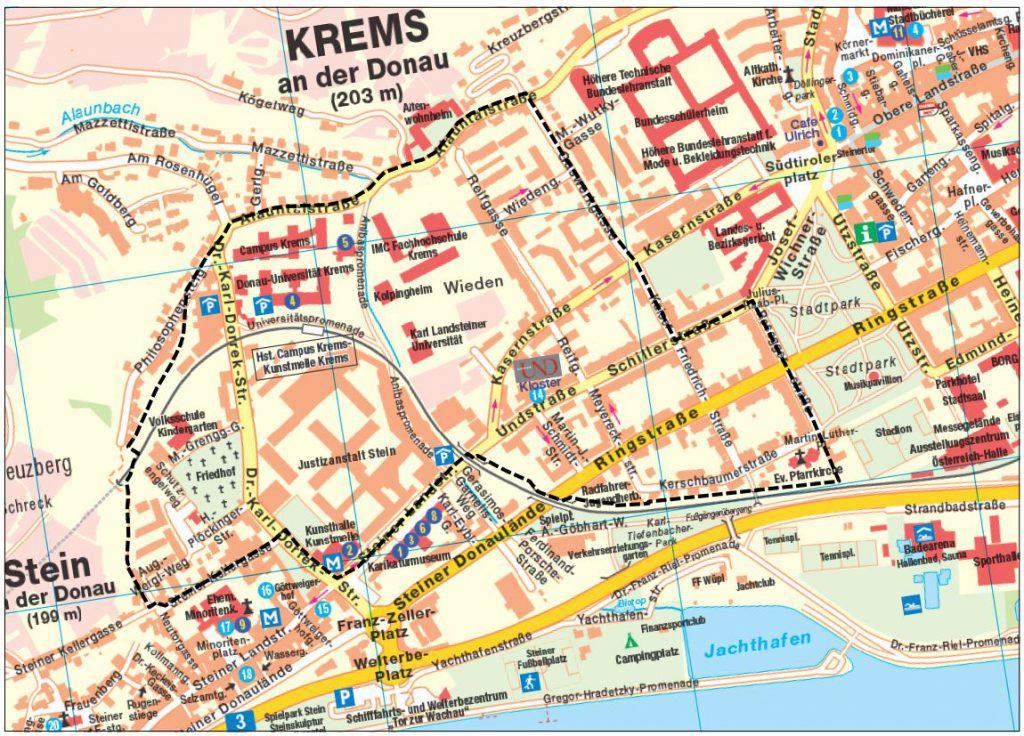 Plan, welcher den Stadtteil Wieden zeigt